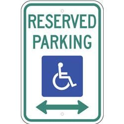 Reserved Parking, with Handicap Symbol & Double Arrow Sign