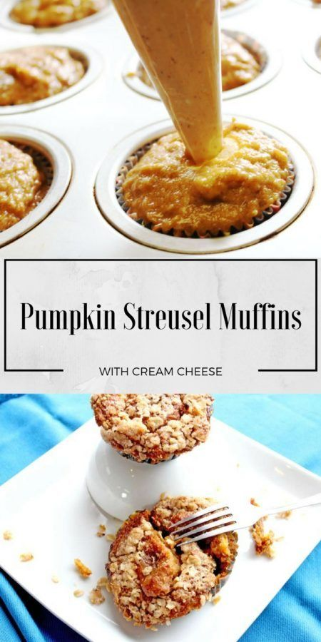 Pumpkin Streusel Muffins with Cream Cheese | Your go-to recipes with oatmeal for the fall season.