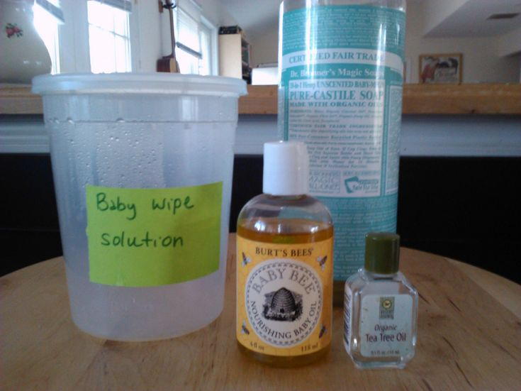 Ingredients for homemade baby wipes solution