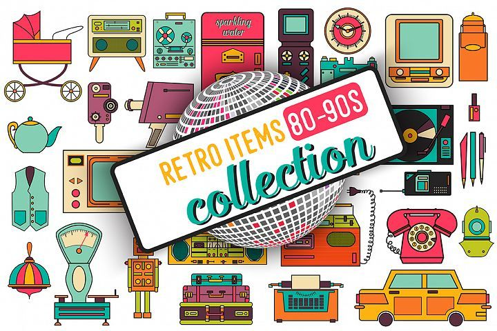 32 retro icons 80-90s collection. - Free Design of The Week from DesignBundles.net