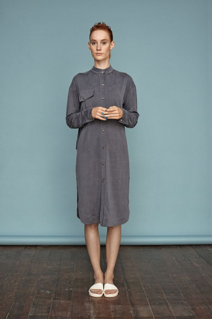 Silk-jersey shirtdress from Dori Tomcsanyi. #doritomcsanyi #ss15 #silkjersey #collection #lookbook