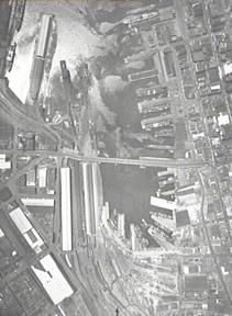 1949 arial view of Goods Line, Yard and Darling Harbour: Helen