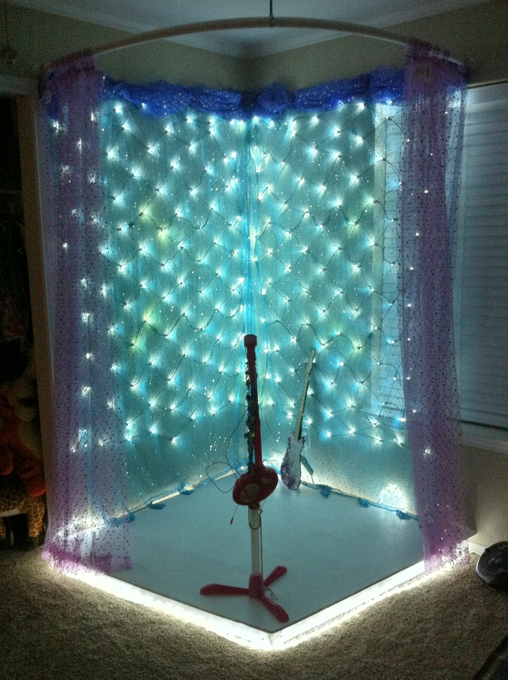 Homemade stage = happy little girl