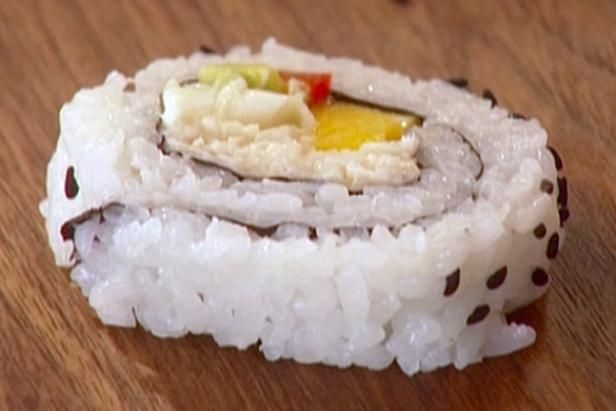 Get Crab, Avocado and Mango Roll Recipe from Food Network