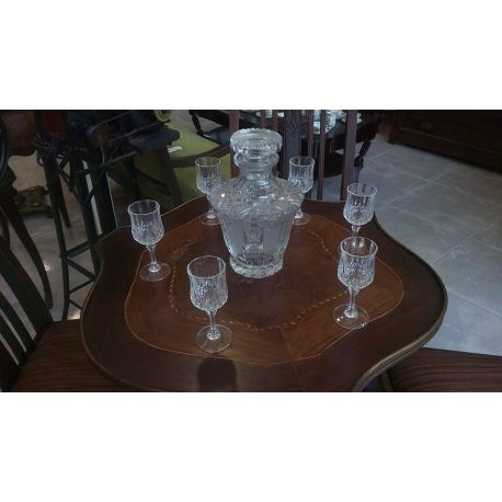 BOHEMIA CZECH ( CZECHOSLOVAKIA) CRYSTAL LEAD CLASS HAND CUT BOTLE WITH 6 LIQUER GLASSES