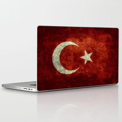 The National flag of Turkey - Vintage version Laptop & iPad Skin