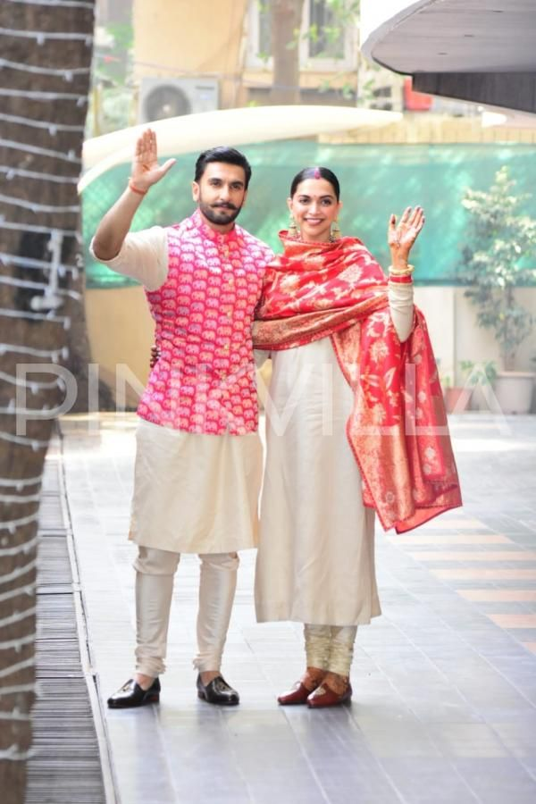 Photos Newly Weds Ranveer Singh And Deepika Padukone Reach At Singh S House For Griha Pravesh Indian Men Fashion Wedding Outfit Men Men Fashion Casual Outfits