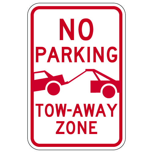 No Parking Tow-Away Zone Signs with Tow-Away Symbol - 12x18
