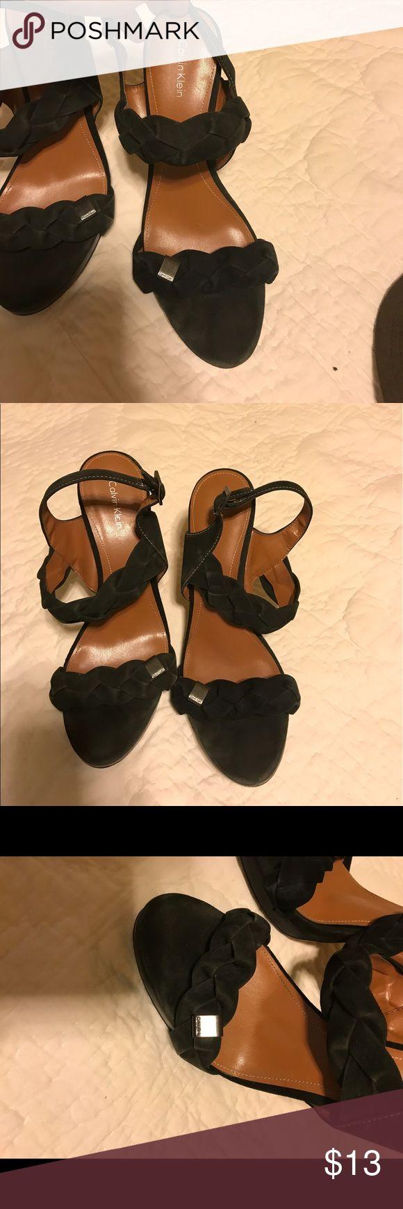 Calvin Klein Black Suede Heels Good condition. Worn once for a wedding Calvin Klein Shoes Heels