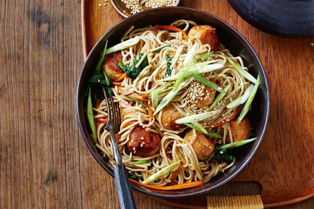 The family will happily gobble up this turkey meatball and soba stir-fry.