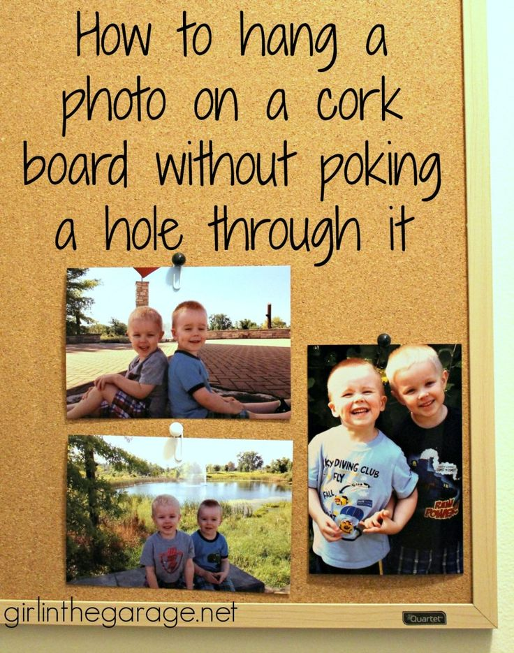 How to hang a photo on a cork board without poking a hole through it - easy trick!  girlinthegarage.net