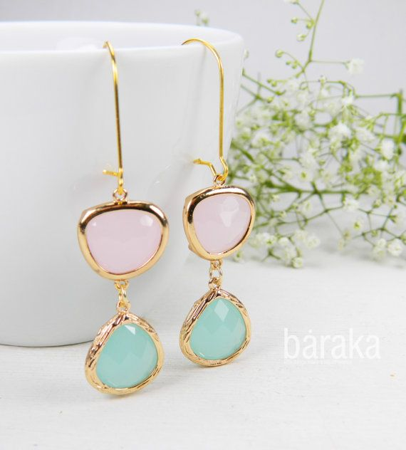 Drop earrings with light pink and mint by BarakaCustomJewelry