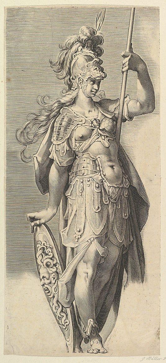 Engraving of Minerva - by Bartholomeus Spranger, 1611, 50-23 cm, at the Metropolitan Museum