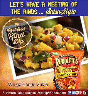 You'll want to dance the Mango Tango after you try this sweet & spicy mango salsa combination with our pork rinds! #NatonalSalsaMonth