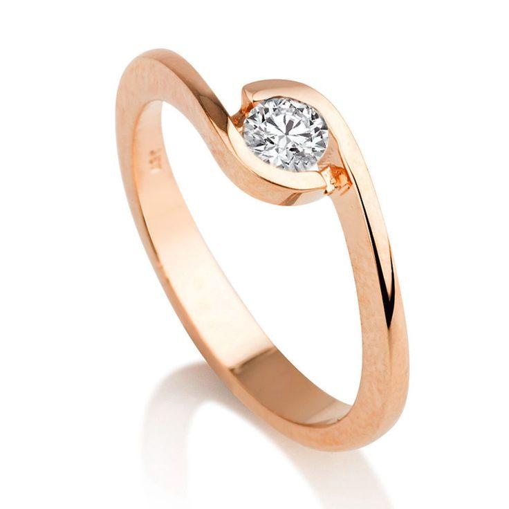 Diamant Verlobungs Ring Solitär 0.25 Karat (VS2/F) 750 Rosegold vom Juwelierhaus Abt in Dortmund günstig kaufen.  #diamantring #verlobung #rosegold #diamant #brillant #juwelier #abt #dortmund
