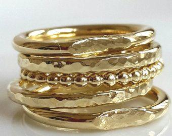 Diamant Stapeln Ringe Gold Stapeln Ring Set geschichtete