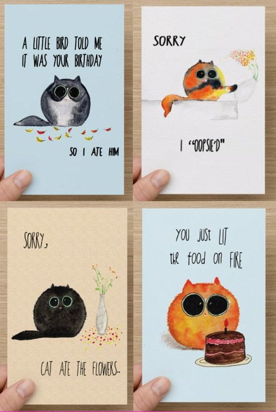 Choose Five Cards for only 18 Dollars! Cute / Funny Mixed Card Set - Perfect for cat lovers - apology, thank you, and birthday cards