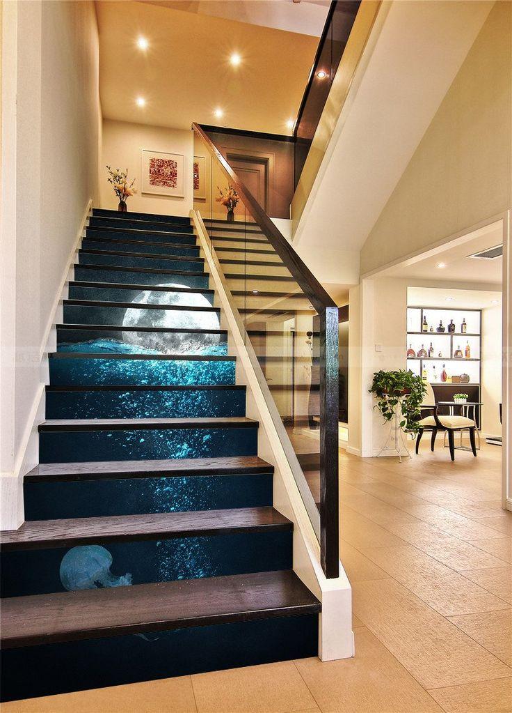 3d Ocean Full Moon 22 Stair Risers Stair Risers Staircase Design Modern Staircase