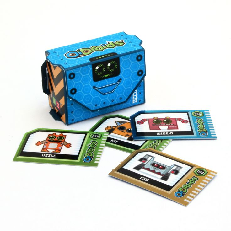 OiDroids 12 Packs all feature this handy data card storage box to pop-out and build