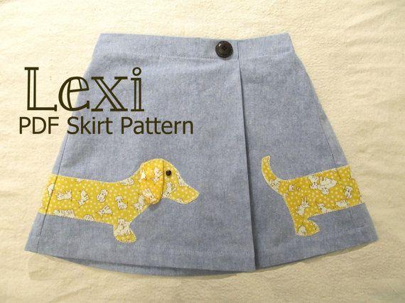Lexi - Girl's Applique Skirt PDF Pattern. Girl Sewing Pattern. PDF Pattern. Toddler Pattern. Sizes 1-8