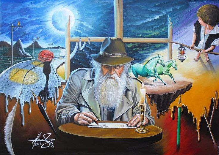 """The Story Teller"" - Oil on canvas. #MihaiRaceanuAdrian Facebook Page #art #painter #painting #surrealism"