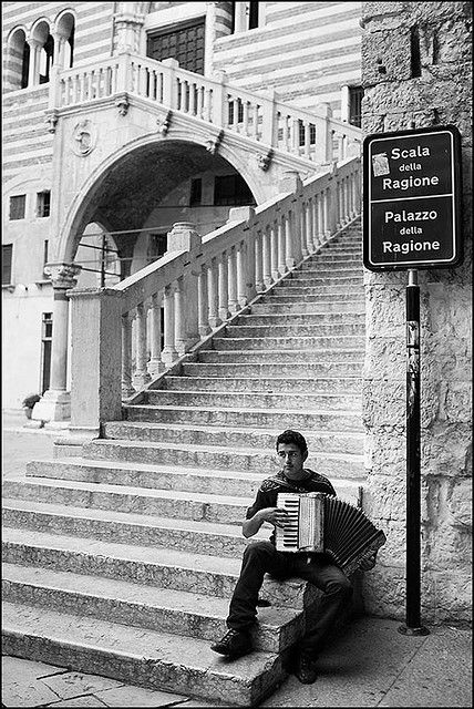 "Vintage photo of the ""Stairs Of Reason"" in Verona, Italy."