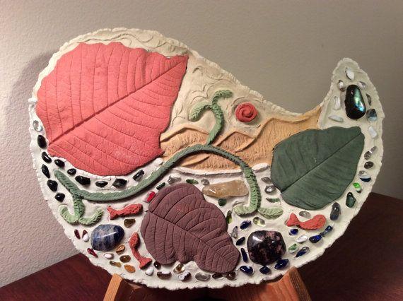 Escultura, fundición de piedra del arte, escultura de piedra, tallando, arte del noroeste del Pacífico, Pietra piedra del arte, decoración del hogar única, hoja, salmón, piedras, regalo