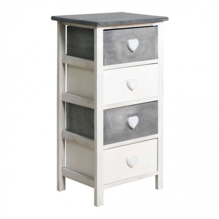 Bedroom Chest Of Drawers White Grey  Wood Storage Furniture Heart Girls Bedroom