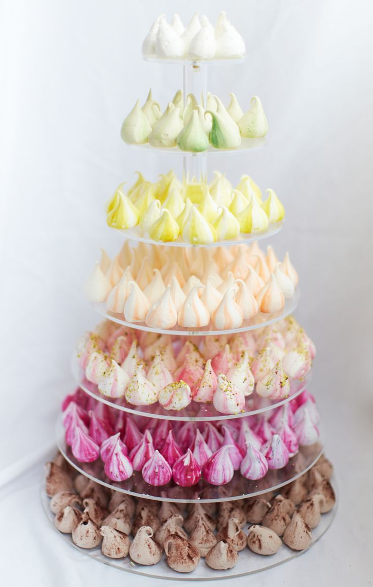 Rainbow Tier! Make a colourful statement at your wedding or event with our 7 layered clear perspex tier filled with 300rainbow meringue kisses. The tier is yours to keep afterwards. Flavours on the tier (bottom to top): Pink-raspberry, orange-passionfruit, yellow-lemongrass and ginger, green-pistachio rose, blue-gin and tonic, unicorn poo-caramel, white-coconut. We bake our meringues fresh …