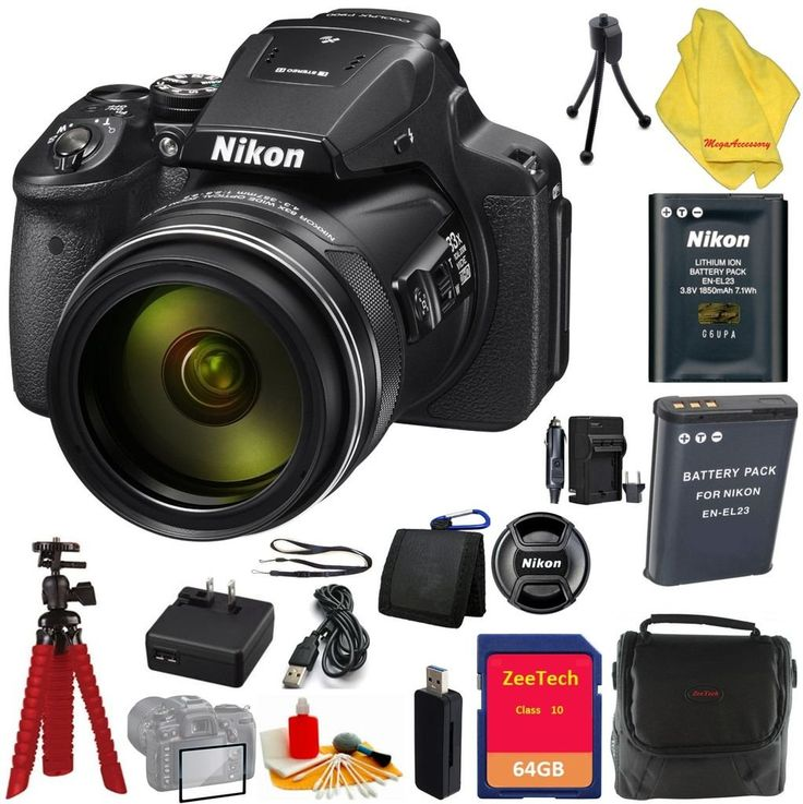 Nikon COOLPIX P900 Digital Camera, 83x Optical Zoom and Wi-Fi (Black) + Case + 64 GB Card + Reader + 6pc Starter Set + Spider Tripod + Extra Charger + Extra Battery. 83x Optical Zoom, 166x Dynamic Fine Zoom super telephoto lens with Dual Detect Optical VR. 16 MP CMOS image sensor. Dimensions (W x H x D) - 5.5 x 4.1 x 5.5 in. Full manual exposure control, Swiveling Vari-angle display and high-resolution eye-level viewfinder. Built in Wi-Fi and Near Field Communication (NFC) for instant…