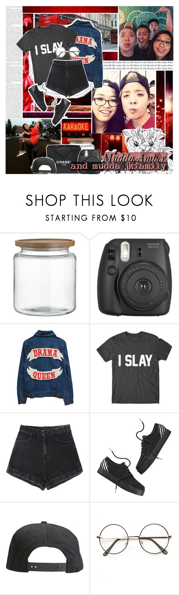 """ 21. Mudda Amber and JkFamily "" by pinkmon ❤ liked on Polyvore featuring Crate and Barrel, Chanel, adidas NEO, Tavik Swimwear, red, amberliu and jkfamily"