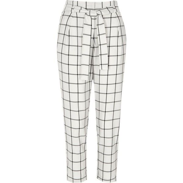 River Island White Check Tie Waist Tapered Pants 76 Liked On Polyvore Featuring Pants Tapered T Trousers Pattern Printed Pants Outfits Checkered Trousers