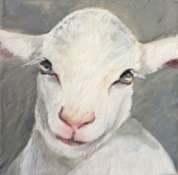 Little Lamb. Encaustic on board.