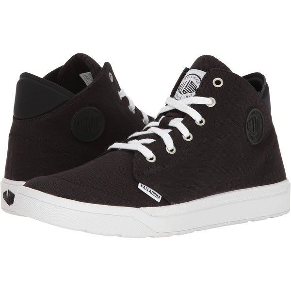 Palladium Desrue Mid (Black/White) Men's Lace up casual Shoes (110 BRL) ❤ liked on Polyvore featuring men's fashion, men's shoes, men's sneakers, black, mens sneakers, mens black sneakers, mens black shoes, black white mens dress shoes and mens black and white shoes