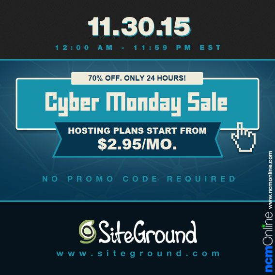 New orders receive 70% off SiteGround web hosting plans.