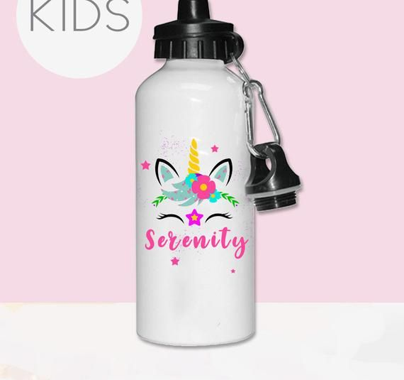 Personalised Water Bottle,Unicorn water bottle with name,kids water bottle,