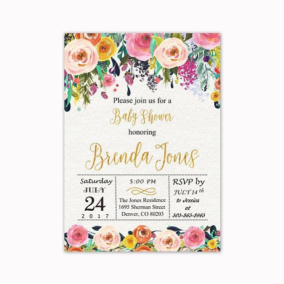 Floral Baby Shower Invitation Watercolor Flowers Baby Shower