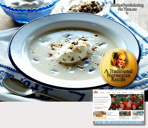 Grandma Soup / Bestemorsuppe - A traditional dessert recipe found on tine.no - This is a traditional recipe for a dessert soup based on cultured milk or keefir. The soup has a slightly tarty taste and is easy to make. - http://recipereminiscing.wordpress.com/t