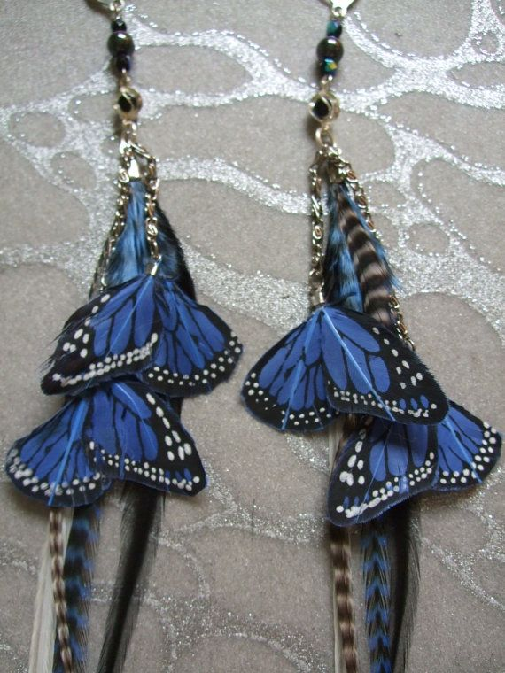 Feather Earrings w Blue Butterfly Wings by medicineproductions, $299.99 - My MOST VIEWED and MOST FAVORITED Item in my shop!