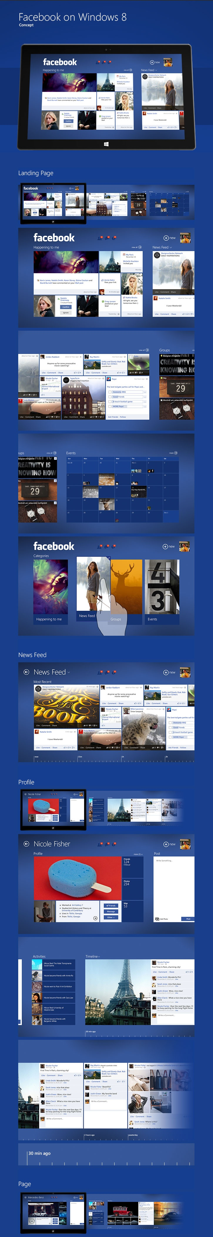 An interesting take on a Facebook Windows 8 app screens.