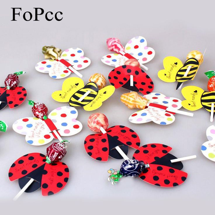 50PCS/Set Cute Insect Bees Ladybug Butterfly Lollipop Decoration Card  Birthday Party Wedding Decor Candy Stick Gifts For Kids
