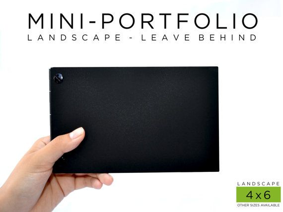 Portfolio Book Case 4x6 Landscape Matte Black  by SleekPortfolios, $12.50
