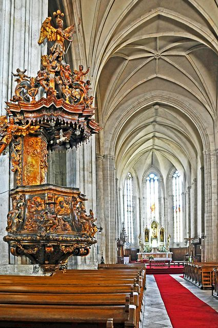 The pulpit of St. Michaels Church, Cluj-Napoca, Romania by Dennis Jarvis
