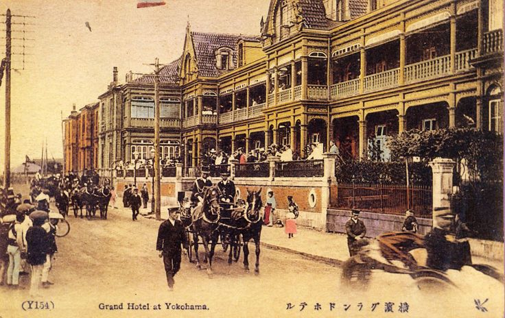 Yokohama Grand Hotel 横浜グランドホテル - Hand colored postcard - Japan - 1890s Source www.hotel-label.com