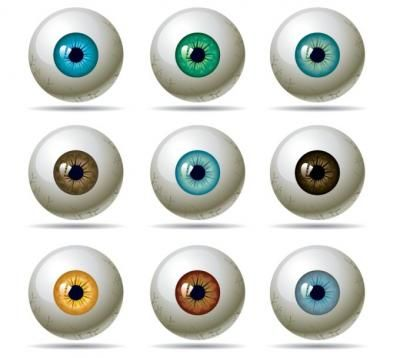 Nine colourful eye vectors. White eyeball with pupil in various colours.
