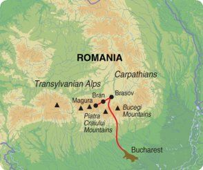 Map of Exodus Travels Carpathian Culture and Wildlife trip itinerary.
