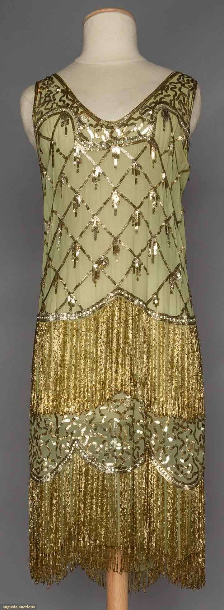Evening dress, light green chiffon flapper dress, gold and silver sequins and long gold bead fringes, 1925