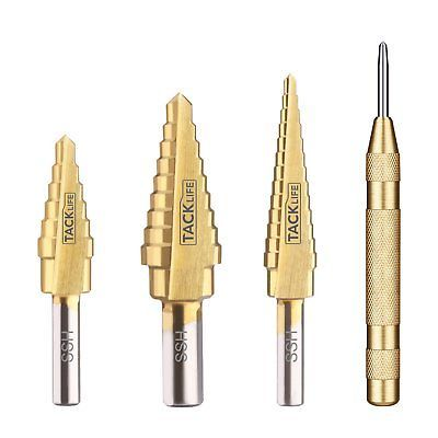 Step Drill Tacklife PSD1 Titanium Step Drill Bit Set with Automatic Center Punch