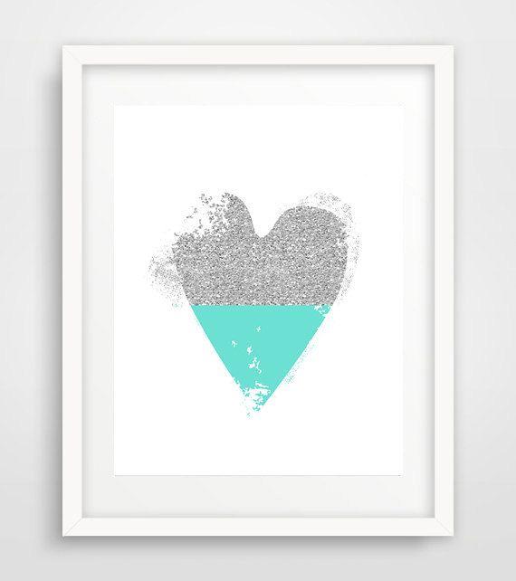 Glitter Heart Print Turquoise Heart Silver Heart by Ikonolexi