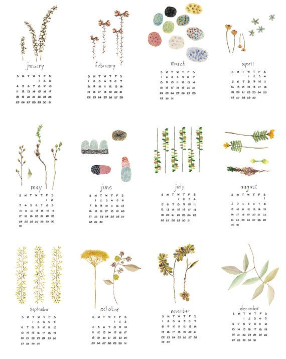 2015 CALENDAR. Nature watercolor calendar